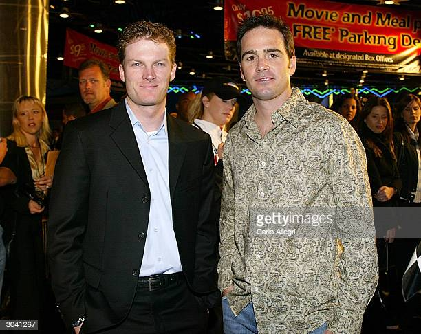 NASCAR drivers Dale Earnhardt Jr and Jimmie Johnson arrive for the premiere of Warner Brothers 'NASCAR 3D The Imax Experiance' at Universal Studios...