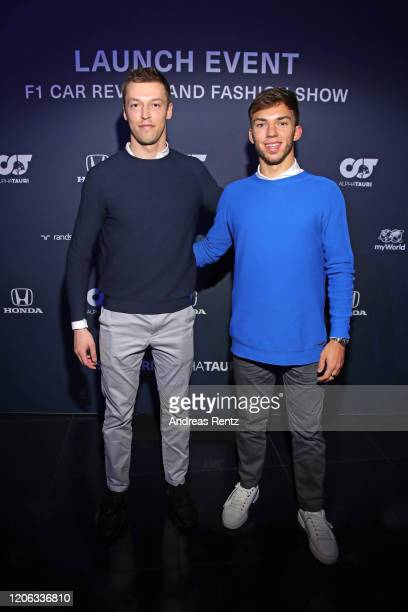 F1 drivers Daniil Kvyat and Pierre Gasly attend the Scuderia AlphaTauri launch event at Hangar 7 on February 14 2020 in Salzburg Austria