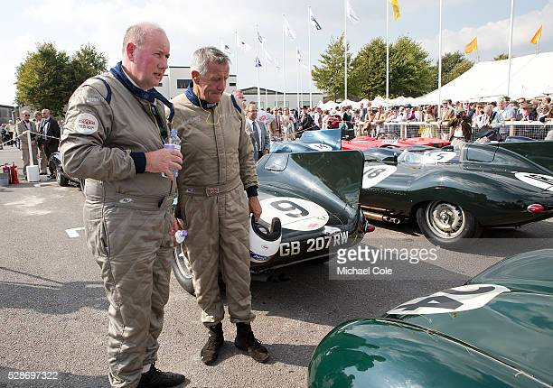 Drivers Derek Hood John Young in the Parc Ferme area after The Lavant Cup at the Goodwood Revival Meeting 12th Sept 2014