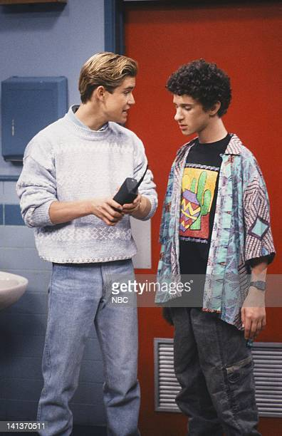 BELL 'Driver's Education' Episode 4 Air Date Pictured MarkPaul Gosselaar as Zack Morris Dustin Diamond as Screech Powers Photo by Alice S Hall/NBCU...