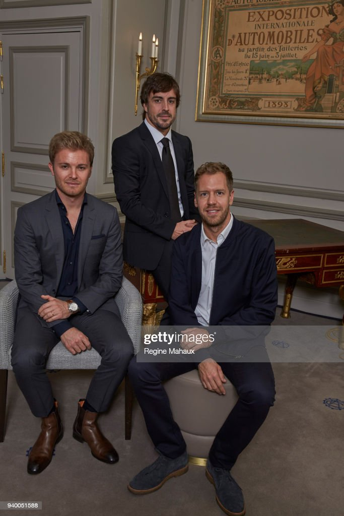 F1 drivers Fernando Alonso, Nico Rosberg, Sebastian Vettel are photographed for Paris Match on December 2017. This picture has been made thanks to Jean Todt and the FIA during the inauguration of there Hall of Fame at Place de la Concorde, Paris.
