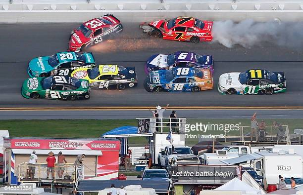 Drivers including Brandon Jones driver of the Nexteer Automotive Chevrolet Justin Allgaier driver of the Brandt Professional Agriculture Chevrolet...