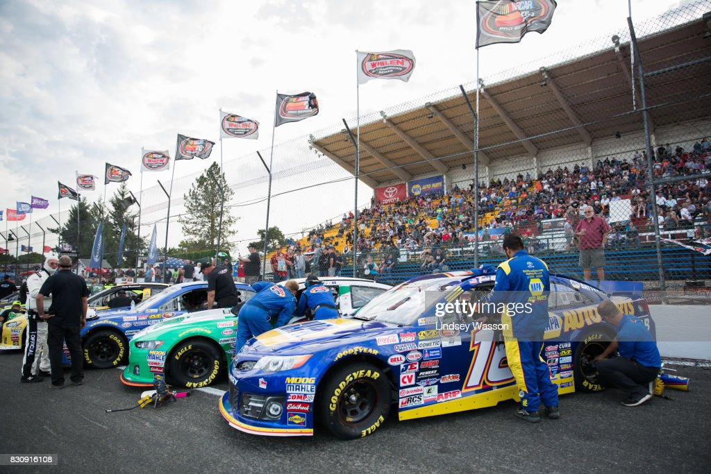 Drivers, including Todd Gilliland #16, prepare to begin the NASCAR K&N Pro Series West NAPA Auto Parts 150 on August 12, 2017 at Evergreen Speedway in Monroe, Washington.