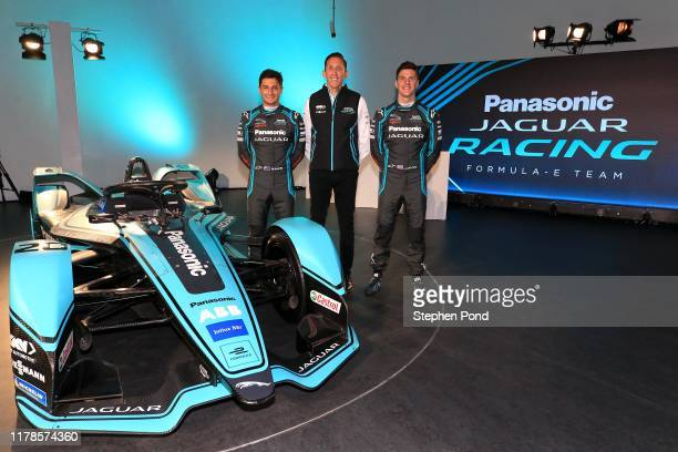 Drivers James Calado and Mitch Evans alongside James Barclay Team Director during the Panasonic Jaguar Racing Season 6 Launch on October 02 2019 in...