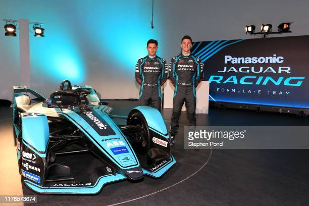 Drivers James Calado and Mitch Evans during the Panasonic Jaguar Racing Season 6 Launch on October 02 2019 in Gaydon England