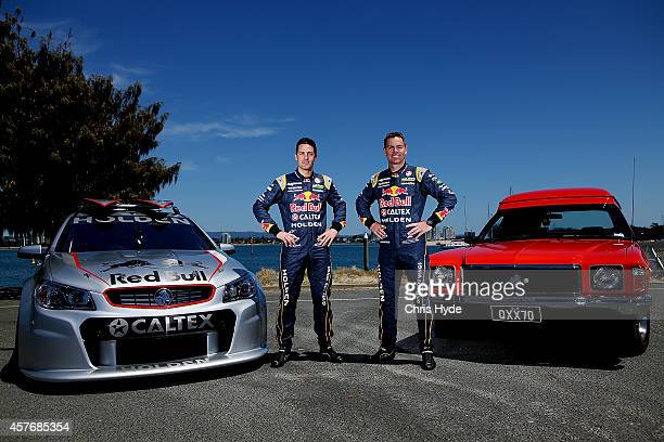 V8 drivers Jamie Whincup and Craig Lowndes of Red Bull Racing Australia launch the Tribute edition sandman at Main Beach on October 23 2014 in Gold...