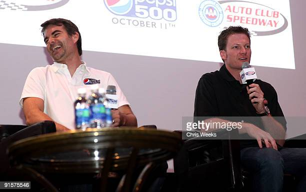NASCAR drivers Jeff Gordon and Dale Earnhardt Jr speak during The Pepsi 500 Auto Club Speedway Celebration Q A held at the Roosevelt Hotel on October...