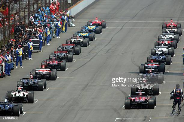 Drivers line up for the start of the Formula One United States Grand Prix at Indianapolis Motor Speedway on July 2 2006 in Indianapolis Indiana