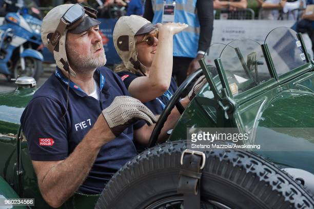 Drivers look at the finish line during the last day of the 1000 Miles Historic Road Race during Mille Miglia 2018 on May 19 2018 in Brescia Italy