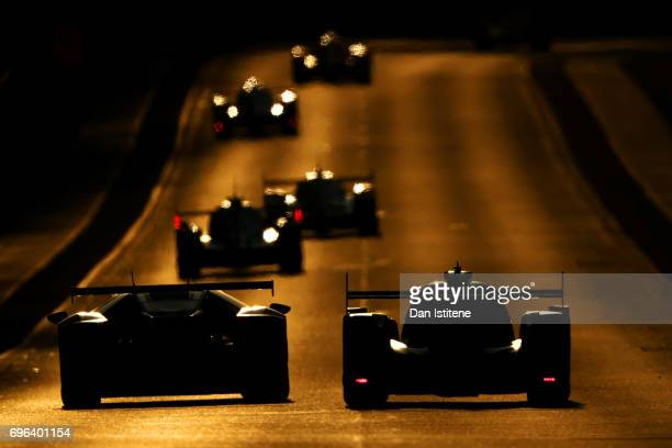 Drivers make their way along the run to Indianapolis during qualifying for the Le Mans 24 Hour Race at Circuit de la Sarthe on June 15 2017 in Le...