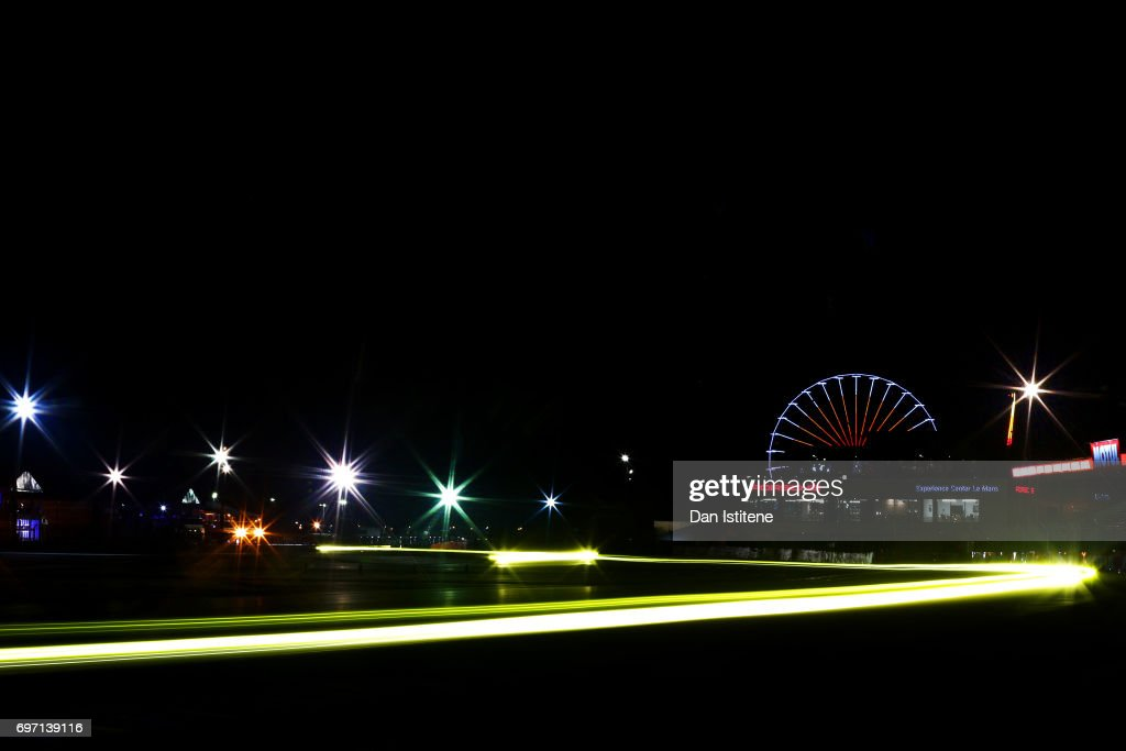 Drivers make their way through the Ford chicane and on to the pit straight during the Le Mans 24 Hour Race at Circuit de la Sarthe on June 18, 2017 in Le Mans, France.