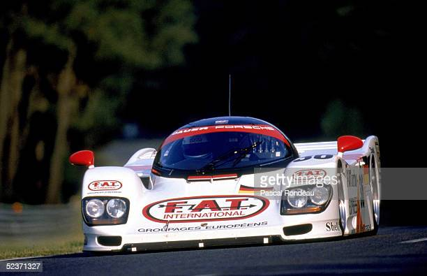 Drivers Mauro Baldi of Italy Yannick Dalmas of France and Hurley Haywood of the USA drive the Dauer Porsche 962LM to win the Le Mans 24hr race on...