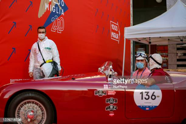 Drivers of historic cars start the La Festa Mille Miglia in Brescia, Italy on October 21, 2020. Although the departure is still in doubt,...