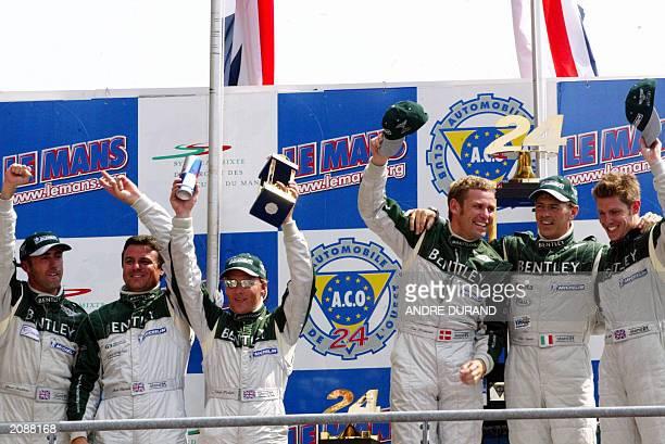 drivers of the Bentley N8 British David Brabham Mark Blundell and Johnny Herbert and winning driver of the Bentley n7 Danish Tom Kristensen Italian...