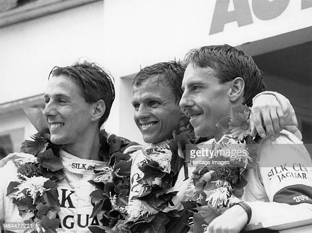 Drivers of the Jaguar which won the Le Mans 24 Hours, France, 1988. From left to right; Johnny Dumfries, Jan Lammers, Andy Wallace. Jaguar had...