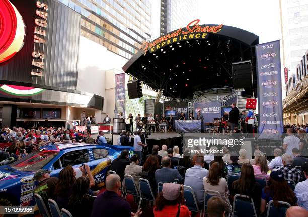 Drivers participate on stage in a version of the game Are you Smarter then a Fifth Grader during NASCAR Fanfest presented by Las Vegas Motor Speedway...