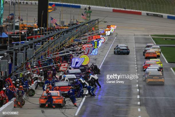 Drivers pit during the Monster Energy NASCAR Cup Series Folds of Honor QuikTrip 500 at Atlanta Motor Speedway on February 25 2018 in Hampton Georgia