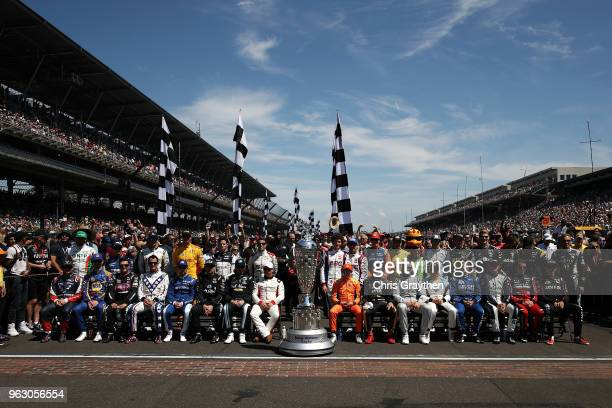 Drivers pose for a photo prior to the 102nd Running of the Indianapolis 500 at Indianapolis Motorspeedway on May 27 2018 in Indianapolis Indiana