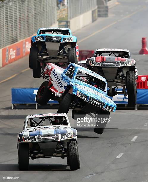 Drivers race during race 1 of the Toyo Tires Robby Gordon's Stadium Super Trucks as a support event to the V8 Supercars Clipsal 500 at Adelaide...