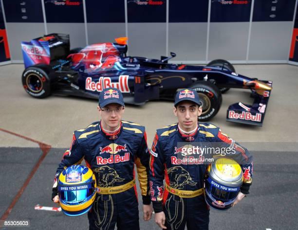 Drivers Sebastien Bourdais and Sebastien Buemi of team Toro Rosso unveil their new car the STR 4 at the Circuit de Catalunya on March 9, 2009 in...