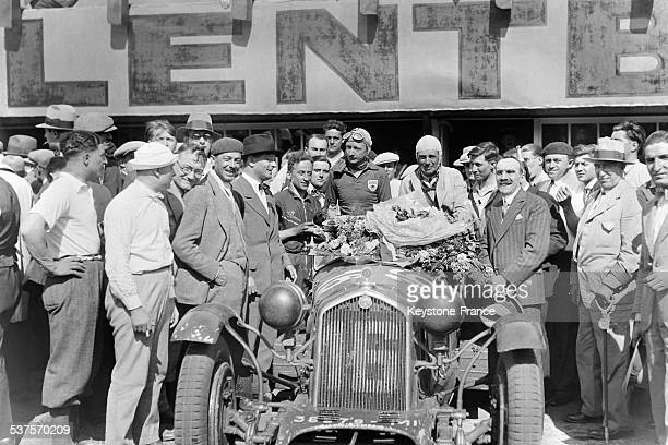 Drivers Sir Henry Birkin and Lord Howe on Alfa Romeo 8C 2300 LM winners of the 24 Hours of Le Mans in June 1931 in Le Mans France