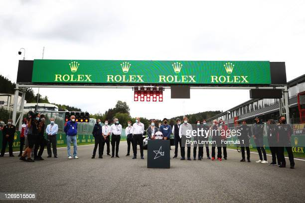 Drivers stand for a minutes silence in tribute to the late Anthoine Hubert who passed at this race in 2019 before the feature race of the Formula 2...