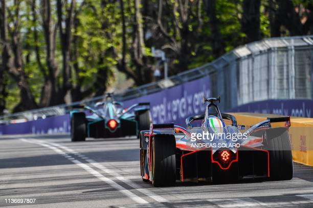 Drivers steer their car during qualifications ahead of the Rome EPrix leg of the Formula E season 20182019 electric car championship in the EUR...