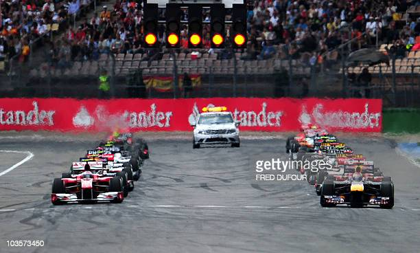 Drivers take the start of the Formula One German Grand Prix at the Hockenheimring circuit on July 25 2010 in Hockenheim AFP PHOTO / FRED DUFOUR