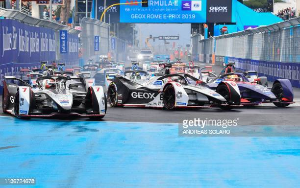 Drivers take the start of the Rome EPrix leg of the Formula E season 20182019 electric car championship in the EUR district of Rome on April 13 2019