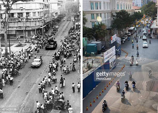 In this beforeandafter composite image Following the departure of American forces Communist forces enter the city of Saigon Vietnam April 30 1975 HO...