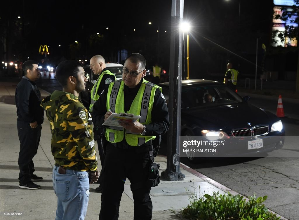 Drivers undergo a sobriety test at a LAPD police DUI