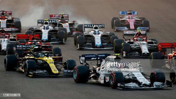 Drivers vie for position during the Abu Dhabi Formula One Grand Prix at the Yas Marina Circuit in the Emirati city of Abu Dhabi on December 13, 2020.
