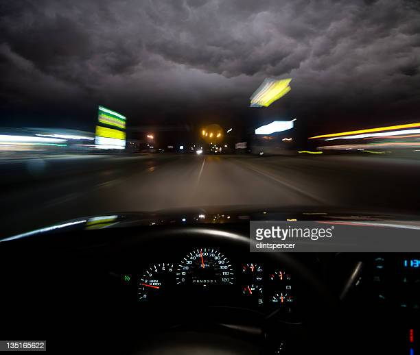 Driver's view of empty road at night