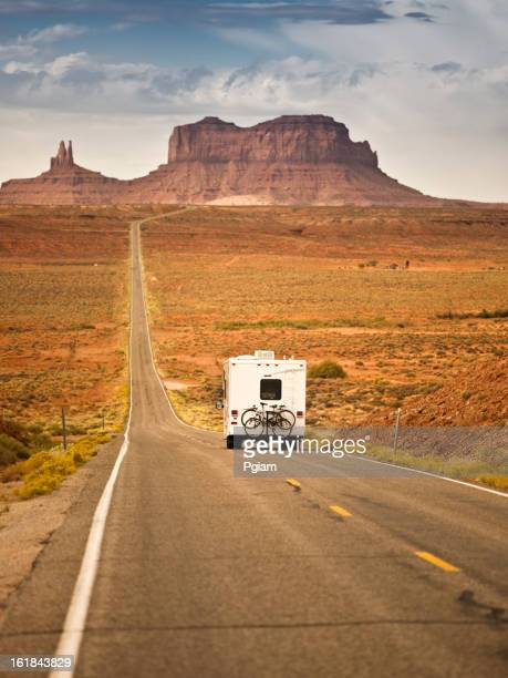 RV drives down the highway