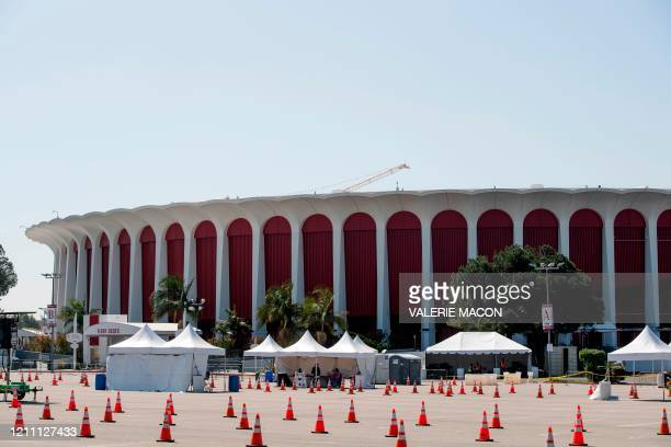 Drive-through COVID-19 testing site is set up by the Los Angeles Fire Department outside The Forum, in Inglewood, California, on April 27, 2020 amid...