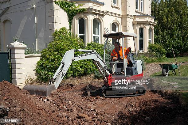 driveway construction: preparing the ground - landscaped stock pictures, royalty-free photos & images