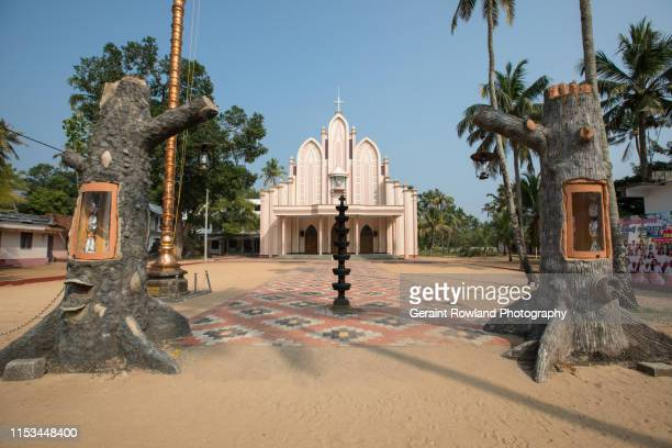 driveway to a catholic church, india - religious event stock pictures, royalty-free photos & images