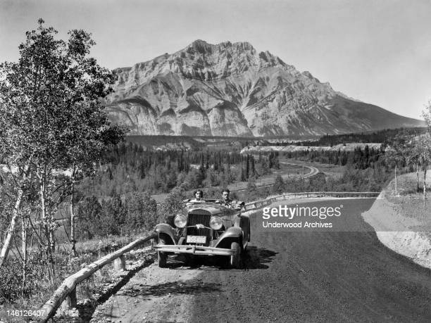 Driving a 1930 Chrysler 77 Roadster along the Canadian Pacific Railway Line between Banff and Jasper Alberta Canada 1931