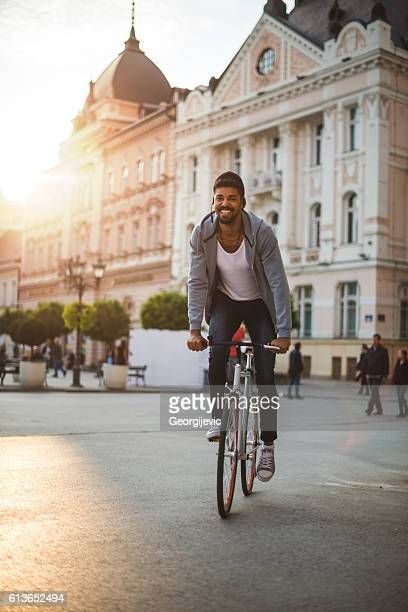 Driving a bike in the city