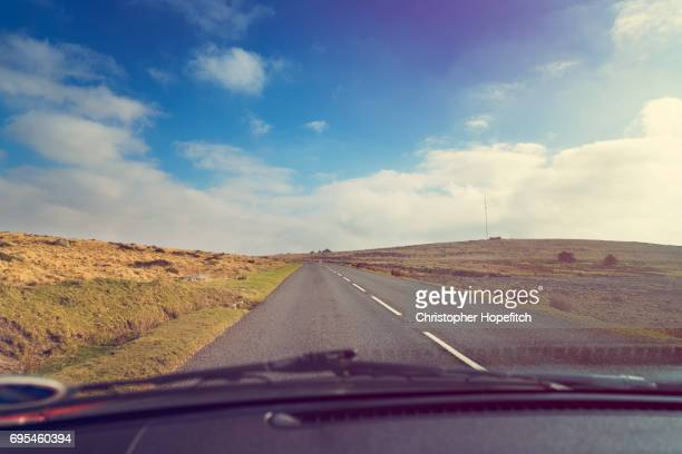 Driving across moorland