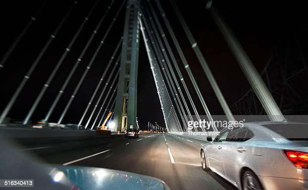Driving across the Bay bridge at night