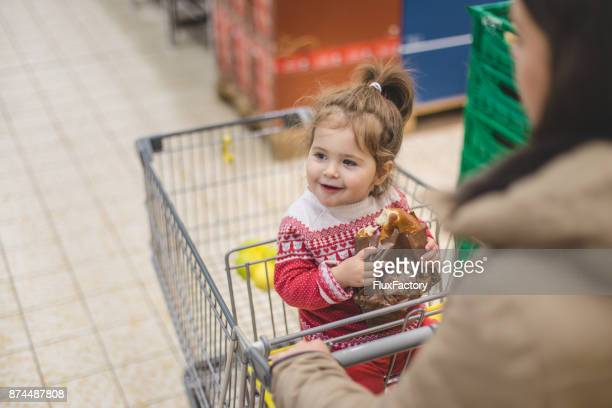 Driving and eating food in shopping chart