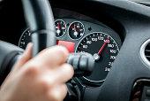 Driving car at motorway at high speed