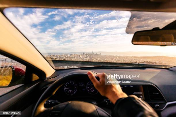 driving car in san francisco, personal perspective view, california, usa - california stock pictures, royalty-free photos & images