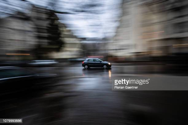 A driving car is pictured with long exposure time on January 09 2019 in Berlin Germany