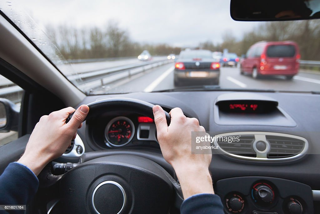 driving car on highway : Stock Photo