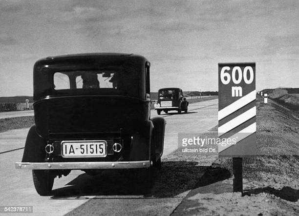 Driving cars on the Reichsautobahn Berlin Szczecin ca 1936 Published in 'Hier Berlin' 7/1936 Photographer Curt Ullmann Vintage property of ullstein...