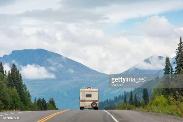 RV driving down Parks Highway Alaska