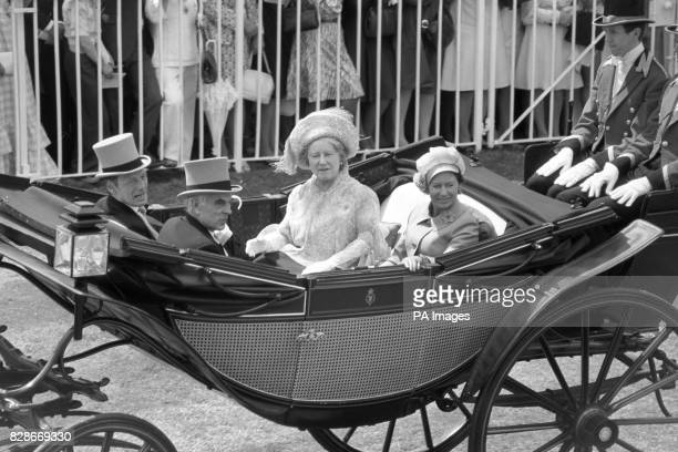 Driving down the course at Ascot in an open landau The Queen Mother Princess Margaret and Mr Angus Ogilvy