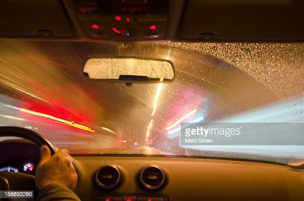 Driving fast a car at night